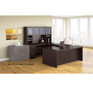 Mayline Aberdeen Executive U-Shaped Desk 72 w/Glass Door Hutch Package Mocha - AT91