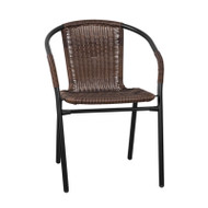 Flash Furniture Dark Brown Rattan Indoor-Outdoor Restaurant / Patio Stack Chair - TLH-037-DK-BN-GG