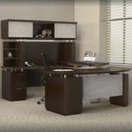 Mayline Sterling Executive U-Shaped Desk 72 with two Pedestals Textured Mocha - STL40H3-TDC