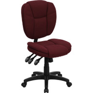 Flash Furniture Mid Back Burgundy Fabric Multi-functional Ergonomic Task Chair - GO-930F-BY-GG