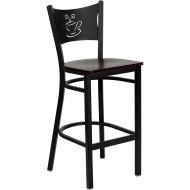 Flash Furniture Coffee Back Metal Restaurant Barstool with Mahogany Wood Seat - XU-DG-60114-COF-BAR-MAHW-GG