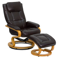 Flash Furniture Contemporary Brown Leather Recliner and Ottoman with Swiveling Wood Base  - BT-7615-BN-CURV-GG