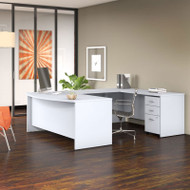"""Bush Business Furniture Studio C Bow Front U-Shaped Desk Package 72"""" White - STC004WH"""