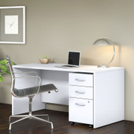 "Bush Business Furniture Studio C Desk with 3-Drawer Mobile Pedestal 60"" White - STC014WH"