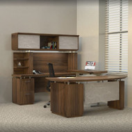 """Mayline Sterling Executive U-Shaped Desk 72"""" with two Pedestals Textured Brown Sugar - STL40H3-TBS"""