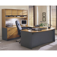 Bush Business Furniture Series C Package Executive U-Shaped Bowfront Desk Natural Cherry - NCPackageA
