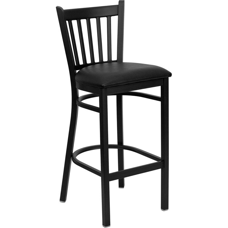 Admirable Flash Furniture Vertical Back Metal Restaurant Barstool With Black Vinyl Seat Xu Dg 6R6B Vrt Bar Blkv Gg Alphanode Cool Chair Designs And Ideas Alphanodeonline