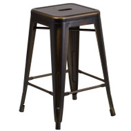 "Flash Furniture Distressed Copper Metal Indoor-Outdoor Counter Height Stool 24""H - ET-BT3503-24-COP-GG"