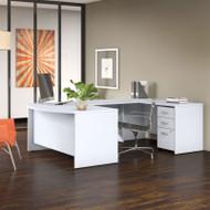 "Bush Business Furniture Studio C Bow Front U-Shaped Desk Package 60"" White - STC005WH"