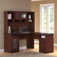 """Bush Cabot Collection L-Shaped Desk & Hutch 60"""" Harvest Cherry - CAB001HVC"""
