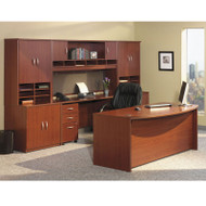 Bush Business Furniture Series C Package Executive Bowfront Desk Mahogany - MAHPackageC