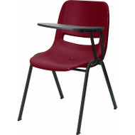 Flash Furniture Burgundy Plastic Shell-Chair with Left Tablet -  RUT-EO1-BY-LTAB-GG