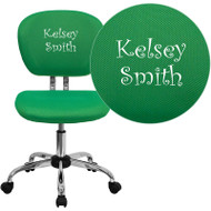 Flash Furniture Mid-Back Bright Green Mesh Task Chair with Chrome Base and Includes Embroidery-H-2376-F-BRGRN-EMB-GG