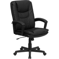 Flash Furniture High Back Black Leather Executive Swivel Office Chair - BT-2921-BK-GG