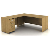"Bush Business Furniture Series C Package L-Shaped Desk with 48"" Return and Mobile File Cabinet in Light Oak 72""W - SRC001LOSU"