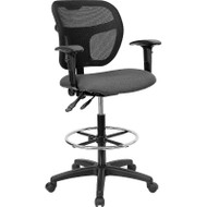 Flash Furniture Mid-Back Mesh Drafting Stool with Gray  Fabric Seat and Arms - WL-A7671SYG-GY-AD-GG