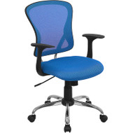 Flash Furniture Mid-Back Blue Mesh Office Chair with Chrome Finished Base - H-8369F-BL-GG