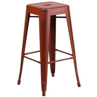 "Flash Furniture Distressed Kelly Red Metal Indoor-Outdoor Barstool 30""H - ET-BT3503-30-RD-GG"