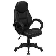 Flash Furniture High Back Black Leather Contemporary Office Chair -  H-HLC-0005-HIGH-1B-GG