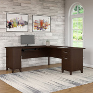 "Bush Somerset Collection L-Shaped Desk 71"" Mocha Cherry - WC81810K"