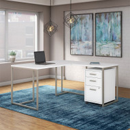 Kathy Ireland by Bush Method Collection 60W L-Shaped Desk with Mobile Pedestal White - MTH005WHSU