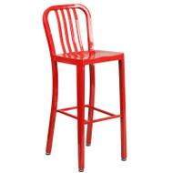 """Flash Furniture Red Metal Indoor-Outdoor Barstool 30""""H (2-Pack) - CH-61200-30-RED-GG"""