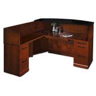 Mayline Sorrento Reception Station Desk with Granite Counter Top Left Hand Return Bourbon Cherry - SRCSLM-SCR
