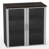 Mayline Medina Laminate Storage Cabinet Glass Hutch Mocha - MGDC-LDC