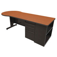 "Marvel Conference Desk with Bookcase 87"" Dark Neutral - ZTCB8730DT"