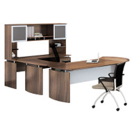 "Mayline Medina Laminate Executive 63"" Desk U-Shaped Package Right Textured Brown Sugar Finish - MNT29-TBS"