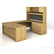 Bush Business Furniture Series C Package U-Shaped Bowfront with Hutch and Lateral File Light Oak Right - SRC005LOR