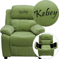 Flash Furniture Kid's Recliner with Storage Dreamweaver Embroiderable Avocado Microfiber - BT-7985-KID-MIC-AVO-EMB-GG