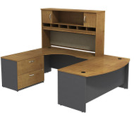 "Bush Business Furniture Series C Package Bowfront U-Shaped Desk with Hutch and Storage Left Handed Natural Cherry 72"" - SRC005NCLSU"