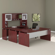 "Mayline Medina Laminate Executive 72"" U-Shaped Desk Package Mahogany - MNT39-LMH"