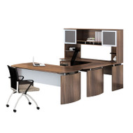 "Mayline Medina Laminate Executive 63"" Desk U-Shaped Package Left Textured Brown Sugar Finish - MNT33TBS"
