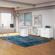 Kathy Ireland by Bush Method Collection 72W Desk with Bookcase and File Storage White - MTH028WHSU