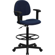 Flash Furniture Fabric Ergonomic Drafting Stool with Arms Navy Blue Pattern - BT-659-NVY-ARMS-GG