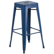 "Flash Furniture Distressed Antique Blue Metal Indoor-Outdoor Barstool 30""H - ET-BT3503-30-AB-GG"