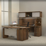 Mayline Sterling Executive U-Shaped Desk 72 with two Pedestals Textured Brown Sugar - STL41H3-TBS