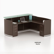 Mayline Medina Laminate Reception Desk with Return and 1 Box/Box/ File and 1 File/File Pedestal Drawer Mocha - MNRSLBF-LDC