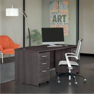 "Bush Business Furniture Studio C Bow Front Desk with 2 Pedestals 72"" Storm Gray - STC012SG"