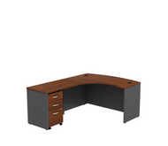 "Bush Business Furniture Series C Executive L-Shaped Desk 60"" with Mobile File Cabinet in Hansen Cherry Left - SRC007HCLSU"