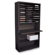 "Marvel 30 Compartment Mail Sorter Station with Adjustable Work Surface Black 80""H x 42""W - UTMS8042_BLK"