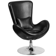 Flash Furniture Egg Series Reception Lounge Side Chair LeatherSoft Black - CH-162430-BK-LEA-GG