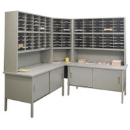"Marvel 120 Adjustable Slot Corner Literature Organizer with Cabinet Slate Gray 90""W x 90""D x 70-78""H - UTIL0017"