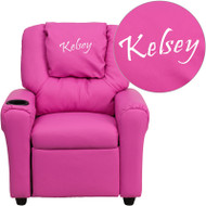 Flash Furniture Kid's Recliner with Cup Holder Hot Pink Vinyl Dreamweaver Embroiderable - DG-ULT-KID-HOT-PINK-EMB-GG