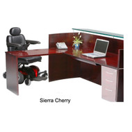 Mayline Napoli Veneer Reception Station with Universal ADA Return Sierra Cherry - NRS-NRTNA-CRY