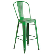 "Flash Furniture Distressed Green Metal Indoor-Outdoor Bar Height Chair 30""H - ET-3534-30-GN-GG"
