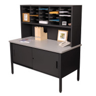 "Marvel 25 Adjustable Slot Literature Organizer with Riser and Cabinet Black 60""W x 30""D x 60-68""H - UTIL0024"