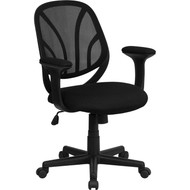 Flash Furniture Mid-Back Black Mesh Computer Task Chair with Arms - GO-WY-05-A-GG